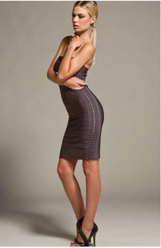 Herve Leger Adriana Strapless Dress NWT Size M in Shadow  1,690 100% authentic