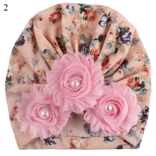 Baby Girl Hat Infant Flower Cotton Knot Bow Turban Headband Stretchy Beanie Hats