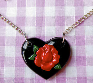 RED ROSE BLACK HEART ROCKABILLY NECKLACE - <span itemprop=availableAtOrFrom>LONDON, London, United Kingdom</span> - I WILL ONLY ACCEPT A RETURN IF THE ITEM ARRIVES DAMAGED Most purchases from business sellers are protected by the Consumer Contract Regulations 2013 which give you the right to can - LONDON, London, United Kingdom