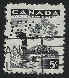 Perfin-C6-CBC-Canadian-Broadcasting-Corp-Scott-369-5c-Loon-Position-5