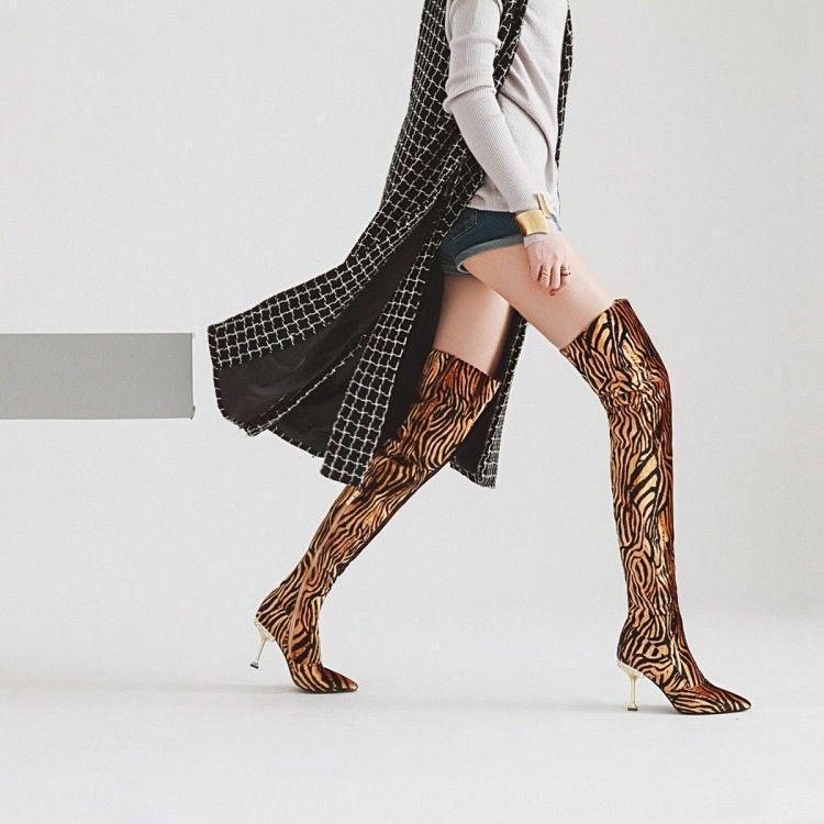 Leopardo de de de ante para mujer de Moda Tacón Alto botas Sobre la rodilla alto del muslo Club Zapatos @BT  envío gratuito a nivel mundial