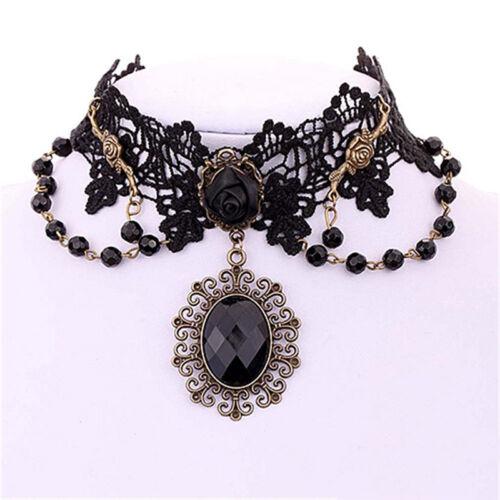 Lolita Gothic Black Rose Flower Lace Choker Collar Necklace Beads Chain  bg
