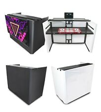ProX XF-MESAMEDIAMK2 DJ Facade Workstation W/ TV Mount, White & Black Scrims