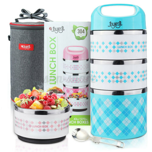 3-Tier Thermal Lunch Box Stackable Insulated Food Container Kids Adults With Bag