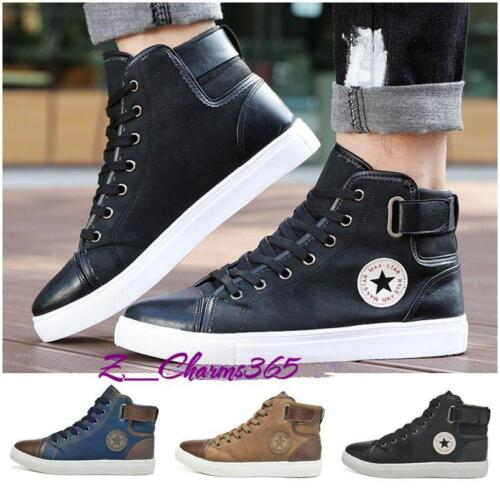 Fashion Men/'s Flat Lace Up Hi Tops Ankle Boots Casual Sneakers Trainers T