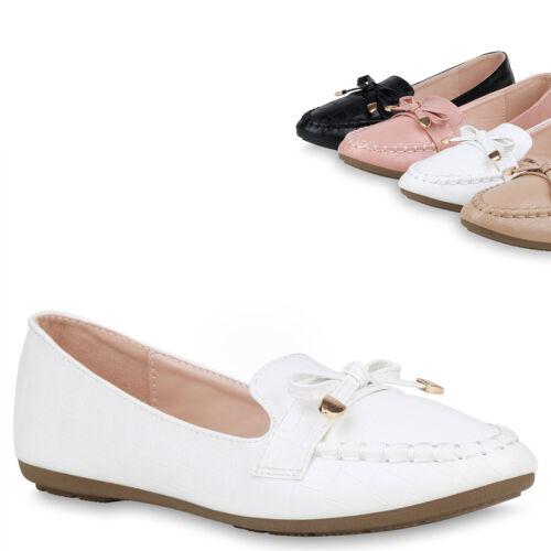 Damen Loafers Slippers Kroko Schuhe Schleifen Slip Ons Profilsohle 832903 Trendy