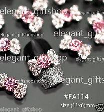 #EA114 10pcs 3D Alloy Jewelry  Nail Art Deco Bow Knot Pink Glitter Rhinestones