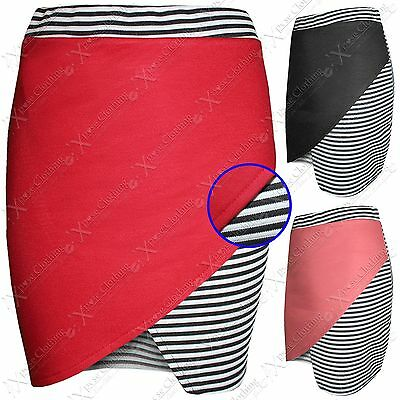 New Ladies Wrap Over Look Black Stripe Skirts Womens Stretch Mini Split Skirt Bequem Und Einfach Zu Tragen