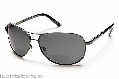 SUNCLOUD Aviator Bifocal Reader Sunglasses Gunmetal/Polarized Gray +2.0