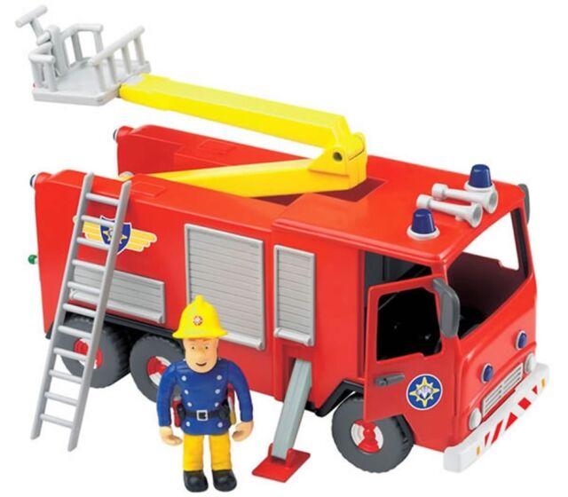 Fireman Sam Jupiter Fire Engine Toy Friction Action Articulated Sam Figure New