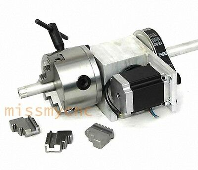 CNC Router Rotational Rotary Axis A-axle, 4th-axis, with 3-Jaw Φ80mm chuck(B)