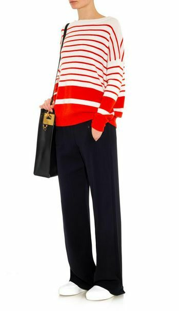 Vince Red Slouched Breton-Striped 100% Soft Cashmere sz SMALL