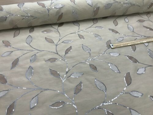 Embroided COTTON VOILE fabric material CURTAINS DRAPES BLINDS CREAM 150cm wide