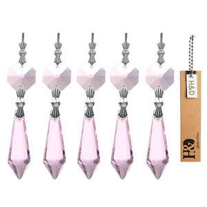 H&D Pink 38MM Chandelier Glass Crystals Lamp Prisms Parts Suncatcher Pendants