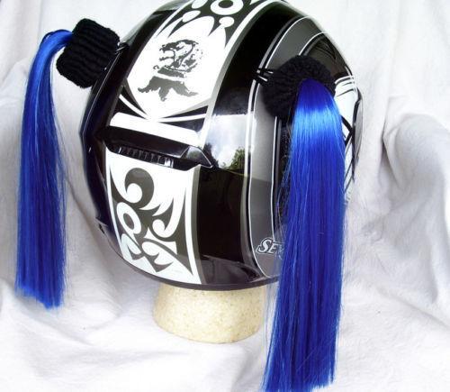 Blue Ladies Helmet Pigtails w// Free Wristband Works On Any Motorcycle Skate