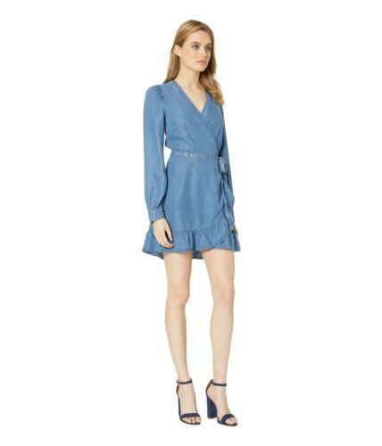 Paige V-neck Kendry Long Sleeve Denim Wrap Dress,