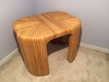 Mid Century Modern Pencil Rattan Waterfall Table Crespi Style