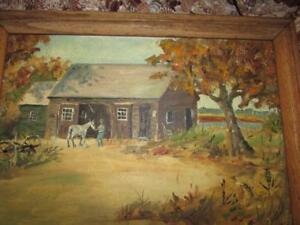 Image Is Loading VINTAGE MID CENTURY RUSTIC FARM SCENE OIL PAINTING
