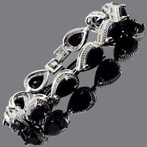 Fashion-CZ-Pear-Cut-Black-Onyx-White-Gold-Plated-Tennis-Bracelet