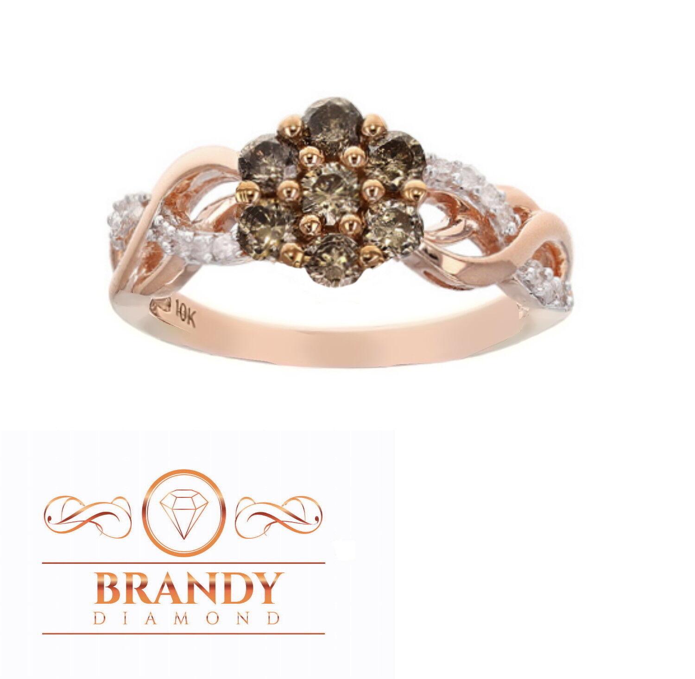 Brandy Diamond® Chocolate Brown 10K pink gold Beautiful Infinity Flower Ring