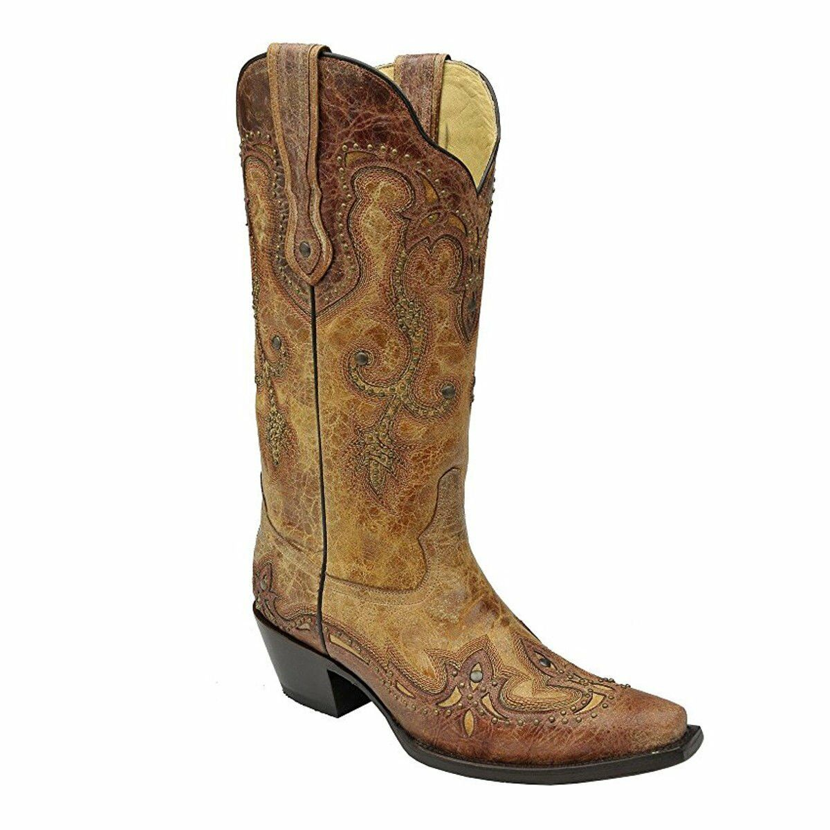 CORRAL Women's Cognac Antique Saddle Cowgirl Boot Snip Toe - G1201