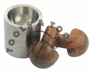 HIGH QUALITY WOOD PUNCH DAPPING SET WITH STEEL DIE METAL FORMING JEWELLERY TOOL