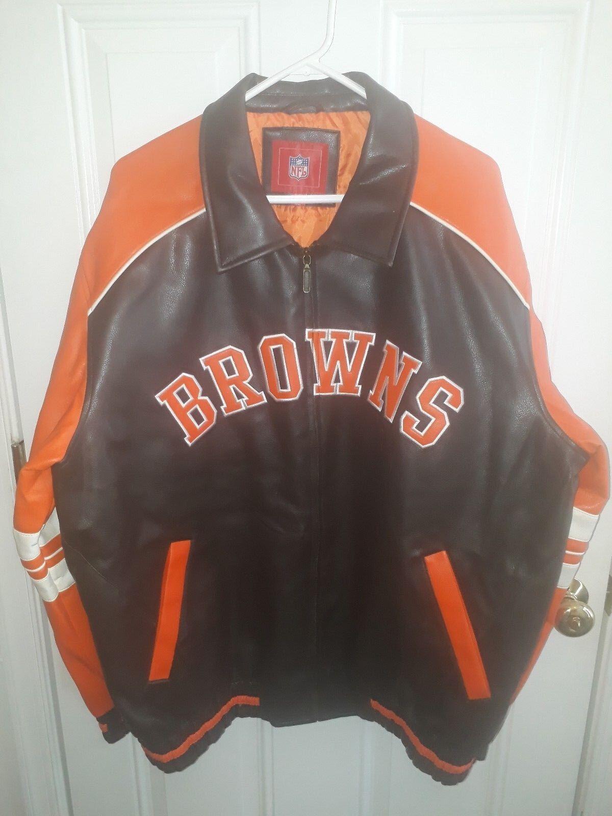 CLEVELAND braunS Leatherette Jacket Coat NFL
