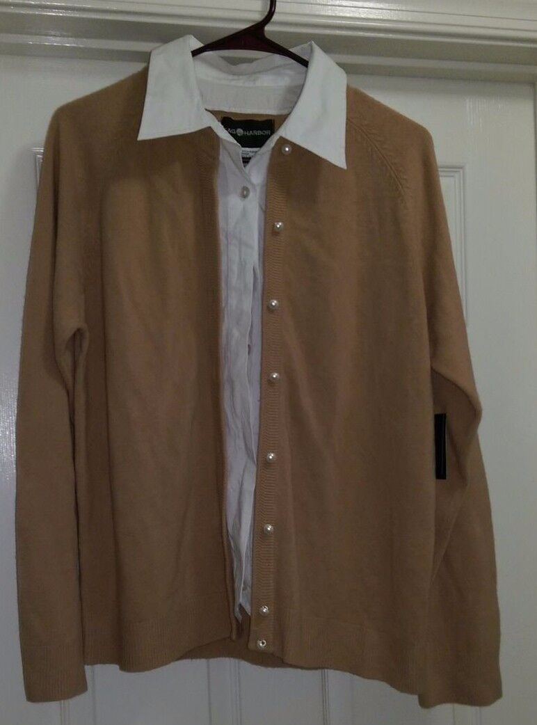 Sag Harbor NWT Womens Tan White Layered LOOK Sweater Top Size L