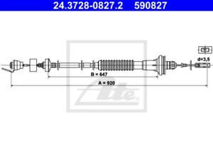 Kupplungsbetätigung für Kupplung ATE 24.3728-0827.2 Seilzug