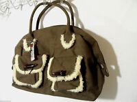 Far Nine Canvas & Fur Trim Purse Tote Shoulder Bag Brown Large Fits Carry-on