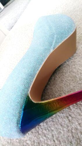 Womens Unicorn Shoes con e glitter Size Heels Style 5 arcobaleno rUwHarBqn