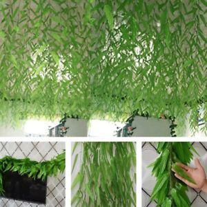 2-1m-Artificial-Ivy-Vine-Willow-Leaf-Rattan-Plant-Fake-Foliage-Green-Decor-S5F6