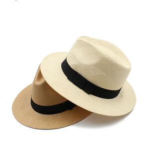Men-Women-Straw-Panama-Hat-Fedora-Trilby-Cap-Sunhat-Sombrero-Sunbonnet-Wide-Brim