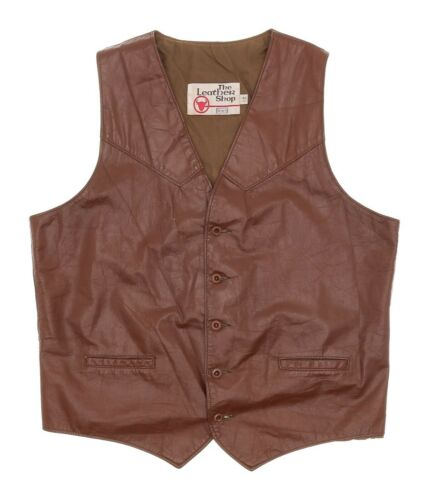 Vintage SEARS Leather Motorcycle Vest LT Large Tal
