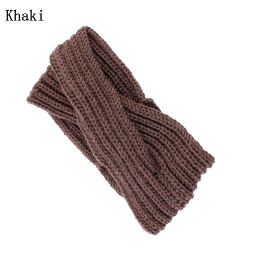 Frauen Mädchen stricken Stirnband Kreuz Twist Turban Breite warm häkeln Haarband