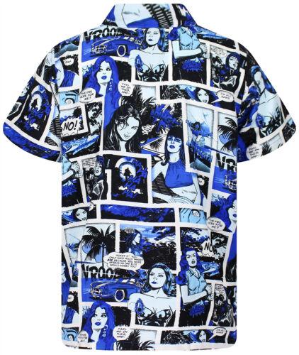 Funky Chemise Hawaïenne Comic Superheroes Mono Bleu Différentes Tailles