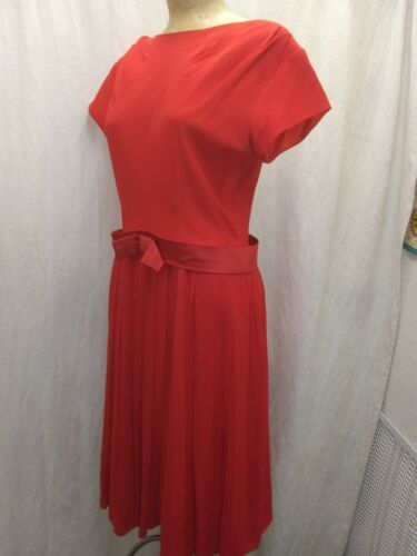 Vintage 1950's 60's Bright Red Crepe Rayon Cockta