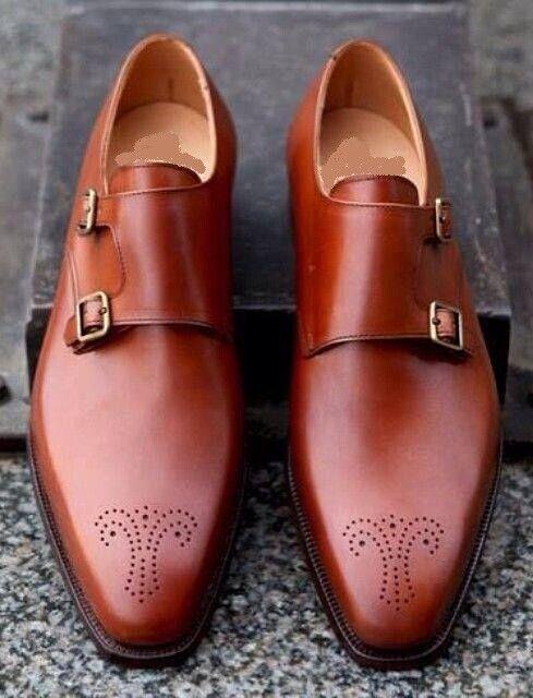 Handmade Men Tan color Brogue formal shoes, Men Dress monk shoes, Mens shoes