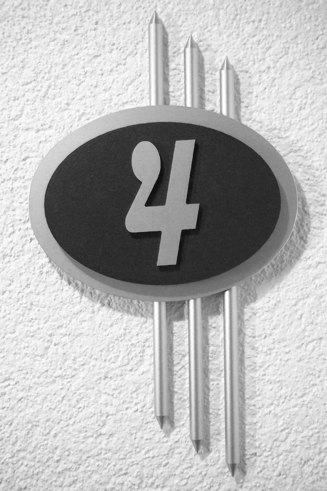 Hausnummer Silber schwarz Design Galaxy 1-stellig 10 Schriftarten zur Wahl