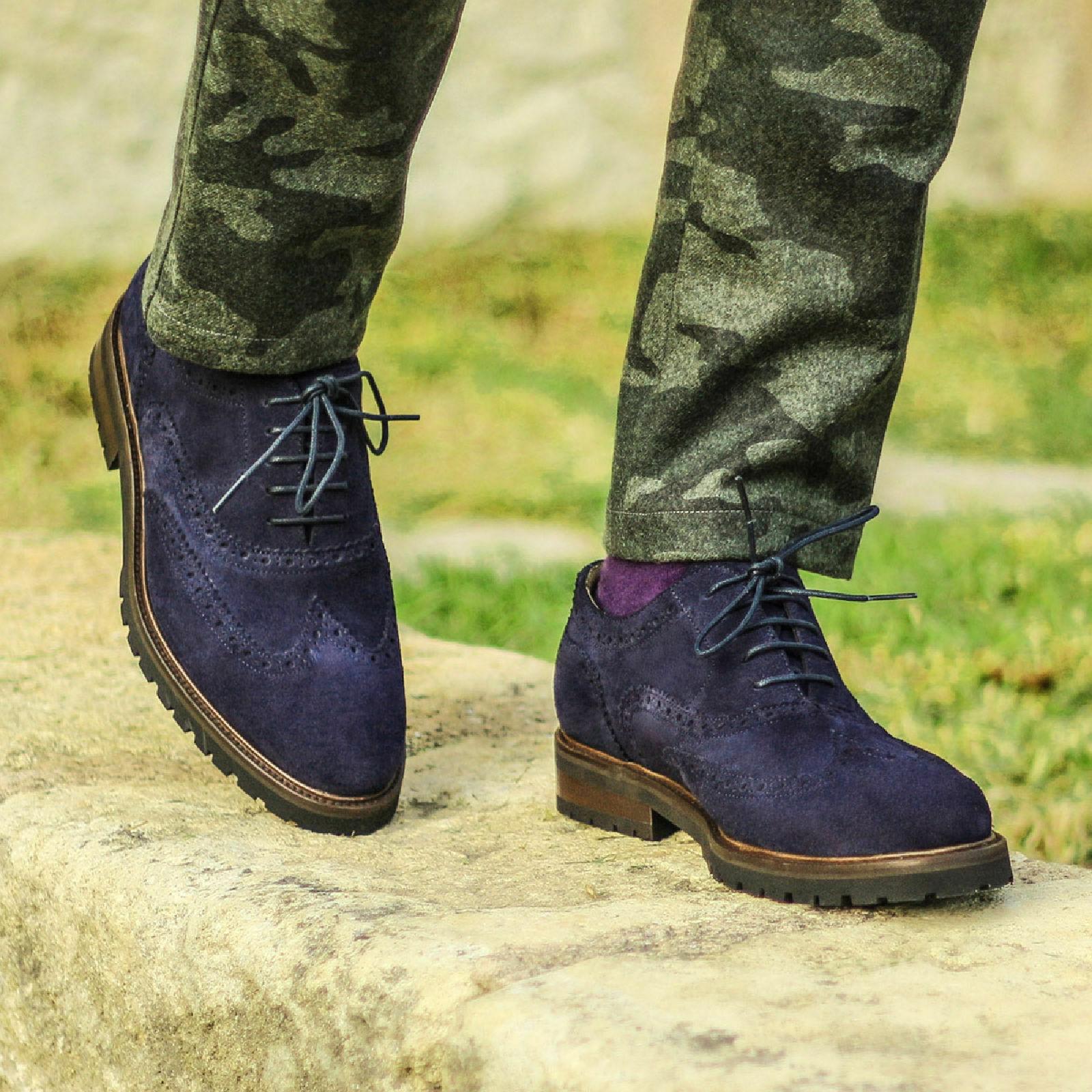 botas para hombre hecho a mano Azul Completo Estilo Gamuza Wing Tip Ropa Formal Informal Zapatos Nuevos