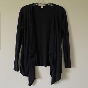 XS-MICHAEL-KORS-Black-Open-Front-Jersey-Cotton-Cardigan-Top