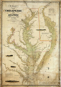 1840-Coast-Survey-Map-Chart-Chesapeake-Delaware-Bay-Art-Poster-Print-Wall-Decor