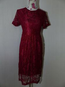 Neues-Dress-Damen-Kleid-Gr-L-Rot-mit-Blumenspitze-Rundhals-Kurzarm