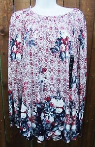 LUCKY-BRAND-BEIGE-MULTI-FLORAL-CASUAL-COTTON-BLEND-PEASANT-TOP-BLOUSE-3X-NEW