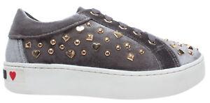Details zu LOVE MOSCHINO Damen Schuhe Sneakers JG0018 Gummi 35 Samt Grau Neu