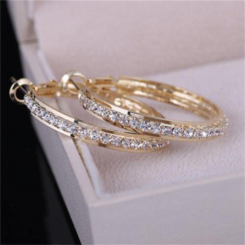 Fashion Women Lady Crystal Rhinestone Hoop Round Earrings Jewelry Gift C