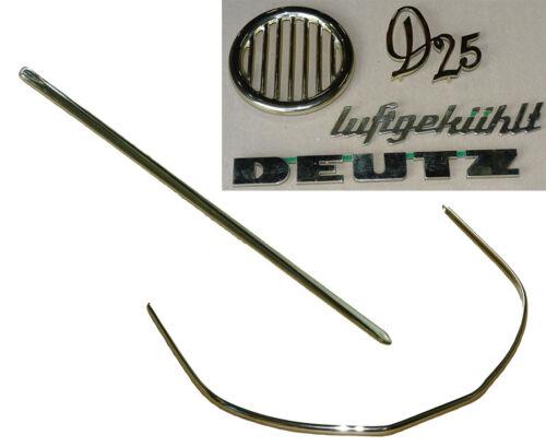 2x Zierleiste messing Embleme für Deutz D25 Traktor Motorhaube Haubenleiste