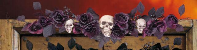 """Dessus de porte """"roses noires et crânes"""" tympan Halloween [7877] decoration fete"""