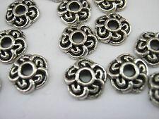 "25 Silver Flower Petal Bead Caps 9mm (3/8"") Bead Ends Jewellery Making Findings"