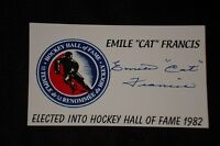 """EMILE """"CAT"""" FRANCIS SIGNED AUTOGRAPH 3X5 INDEX CARD RANGERS HOCKEY HALL OF FAME"""